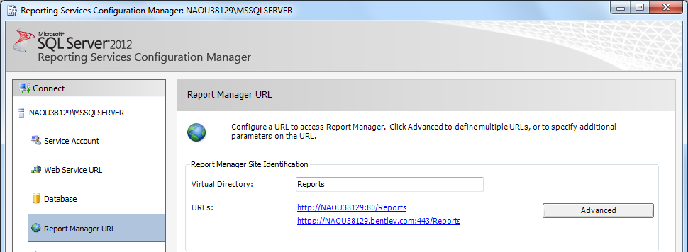 To Locate the SQL Reporting Server