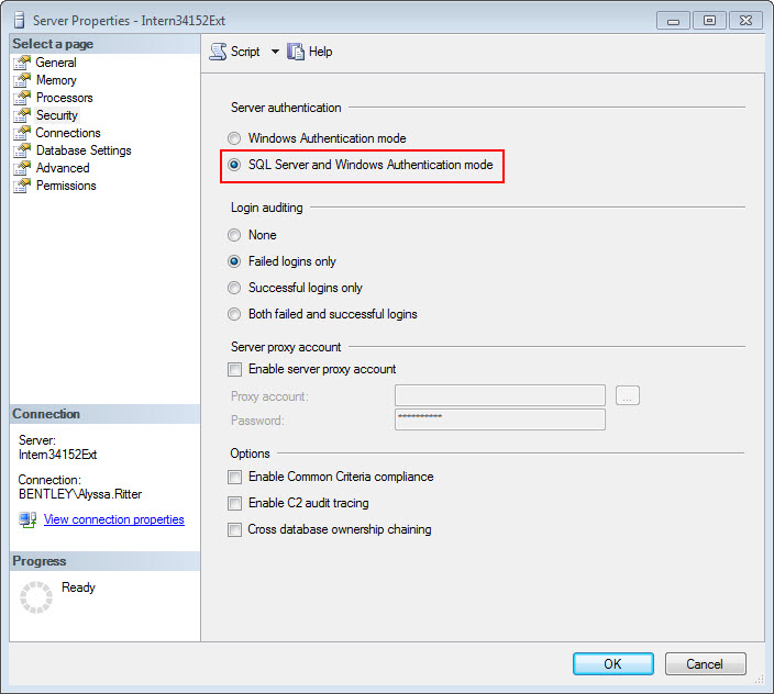 To Set the Microsoft SQL Server Properties