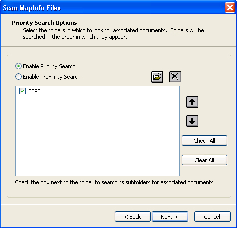 Scan MapInfo Files > Priority Search Options
