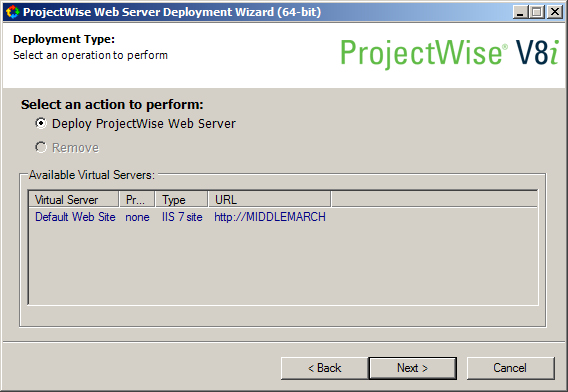 Installing and Deploying ProjectWise Web Server
